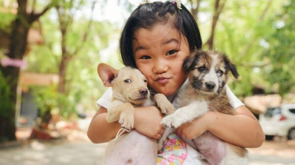 A kid hold the two dogs