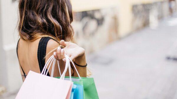 A girl holding a shopping bag